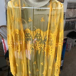 Yellow Lace floral duster cardigan